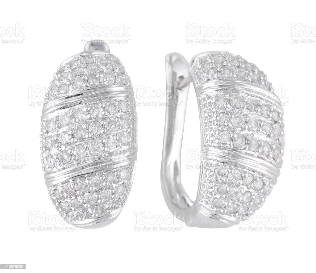 White Gold Diamond Earings royalty-free stock photo