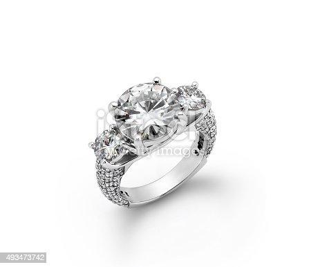 istock White Gold Diamond Engagement Rings 493473742