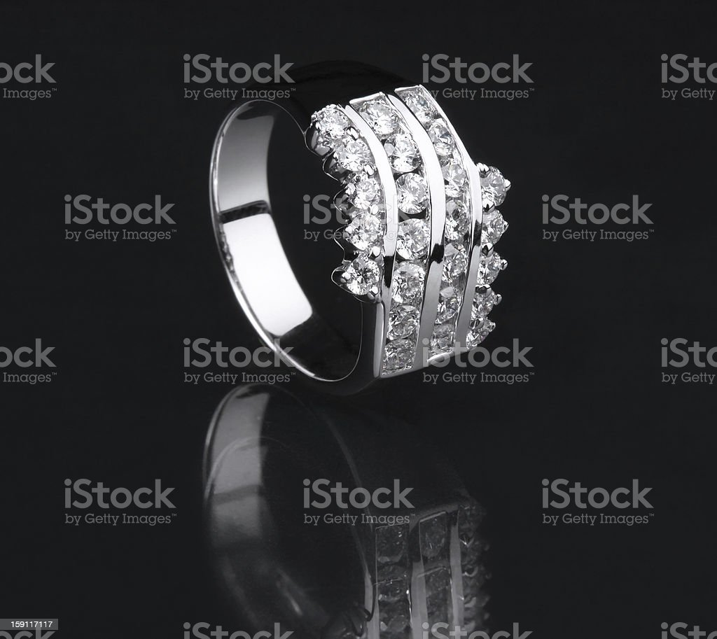 White gold diamond ring on black background royalty-free stock photo