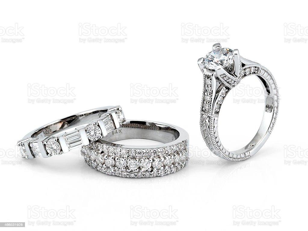 White Gold Diamond Rings royalty-free stock photo