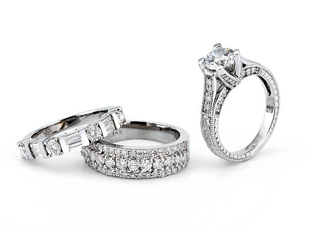 White Gold Diamond Rings stock photo