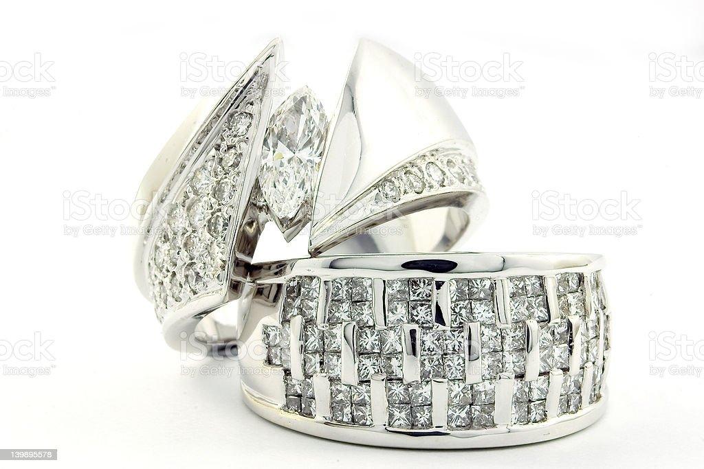 White Gold engagment ring set 2 stock photo