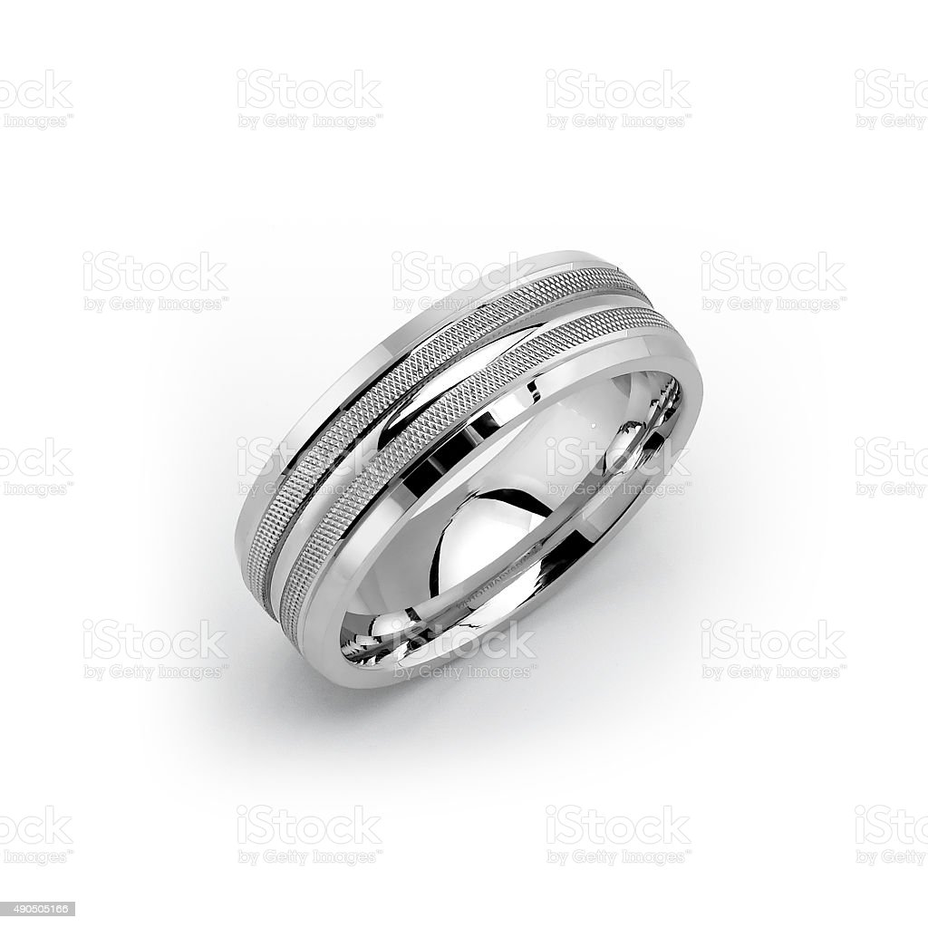 White Gold Mens Wedding Band stock photo