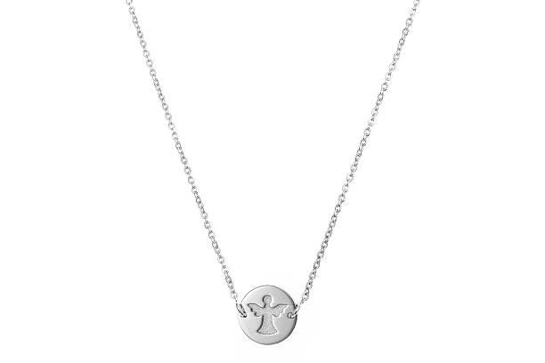 white gold pendant on chain - schmuck engel stock-fotos und bilder
