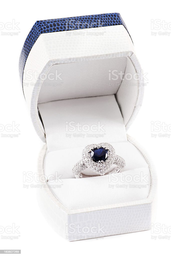 white gold ring in the box royalty-free stock photo