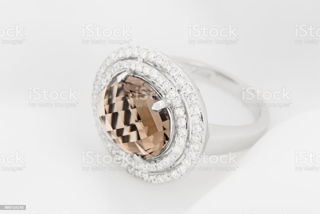White Gold Ring With Diamonds And Smoky Topaz - Royalty-free Anniversary Stock Photo