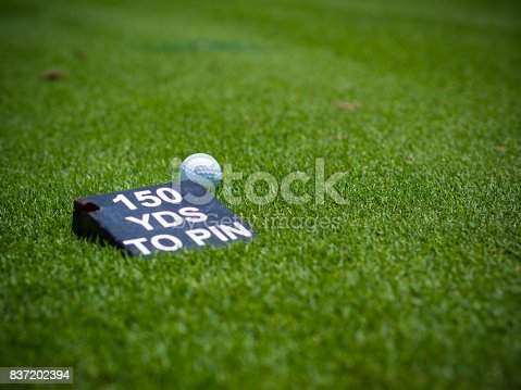 825397576 istock photo White golf ball on green grass fairway wood behind a yard label to pin on green in golf course 837202394