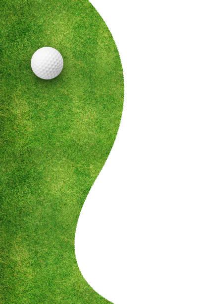 vit golfboll på grönt gräs vänster bakgrund - golf sommar skugga bildbanksfoton och bilder