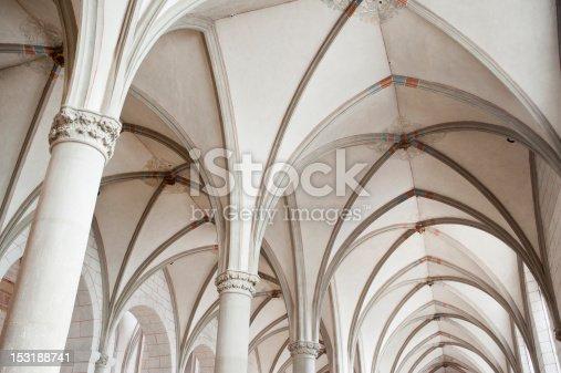 gothic church corridor ceiling in ,europe.