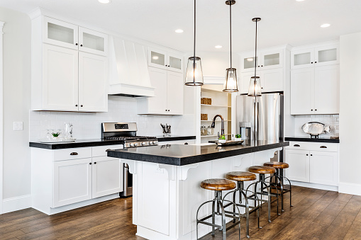 Pendant lights and french door refrigerator
