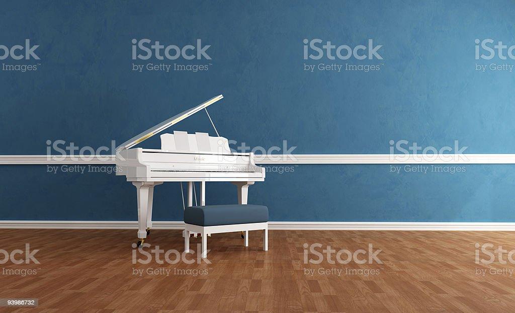 gran piano blanc bleu intérieur photo libre de droits