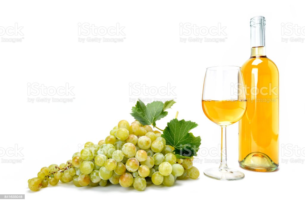 White grape bunch and wine glass on white background. stock photo