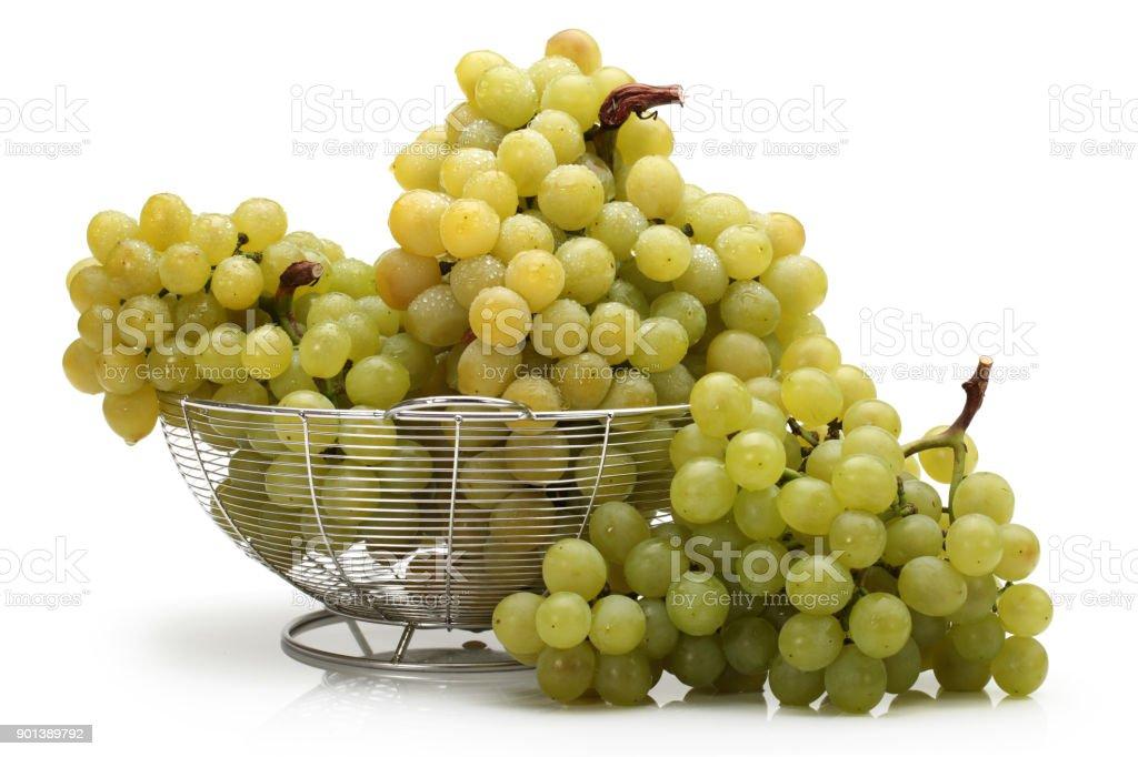 White grapes isolated on white background stock photo