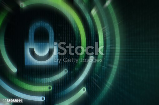 1150846798istockphoto White graphic symbol of a padlock on green binary computer display - computer data protection. Internet Business Cyber security system concept 1138968944