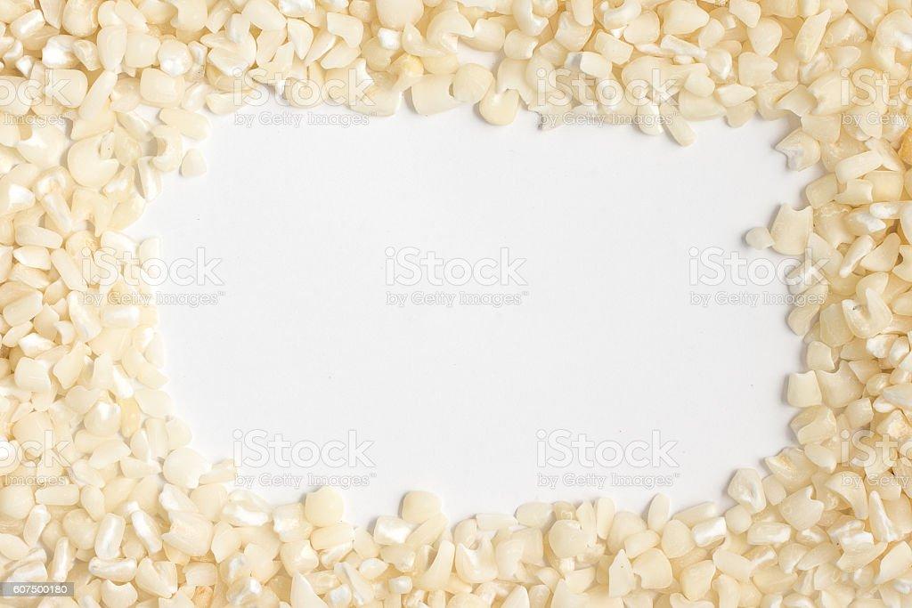 White grated corn kernels Frame stock photo