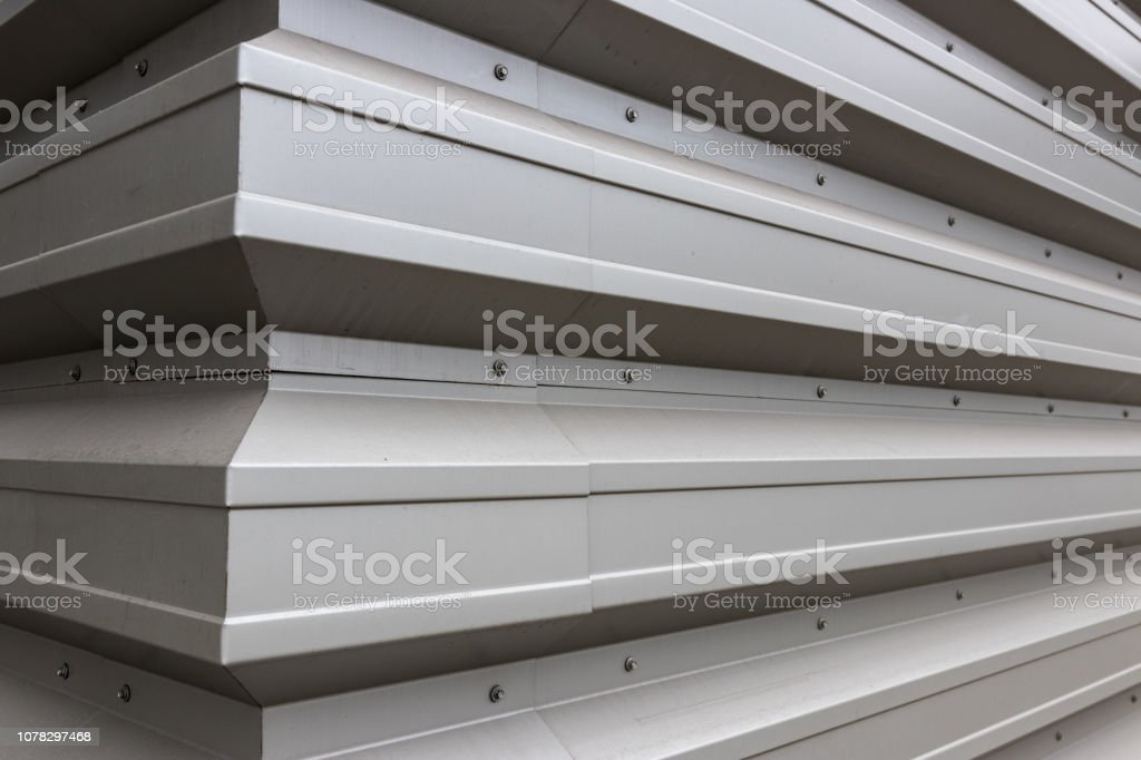 White gray aluminum siding corner stock photo