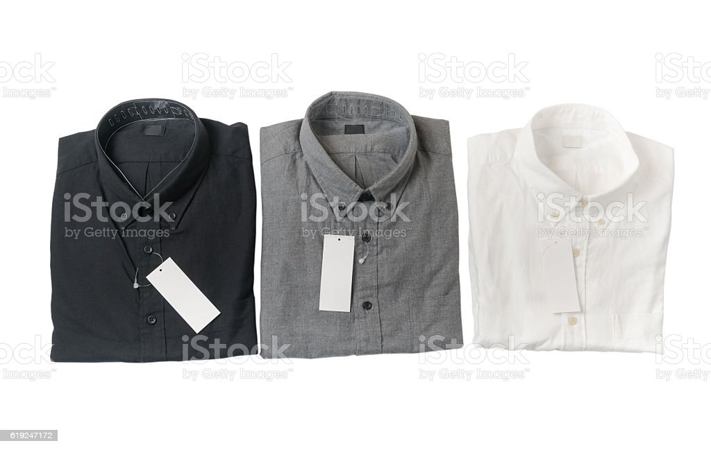 white, gray and black shirt with blank price stock photo