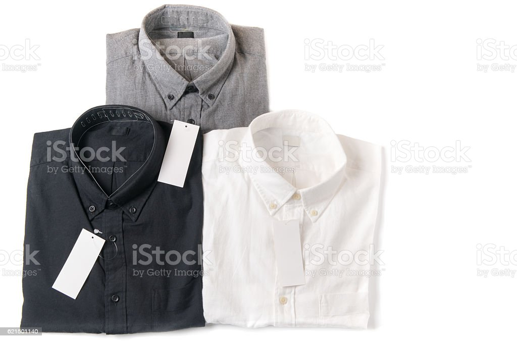 white, gray and black shirt with blank price tag foto stock royalty-free