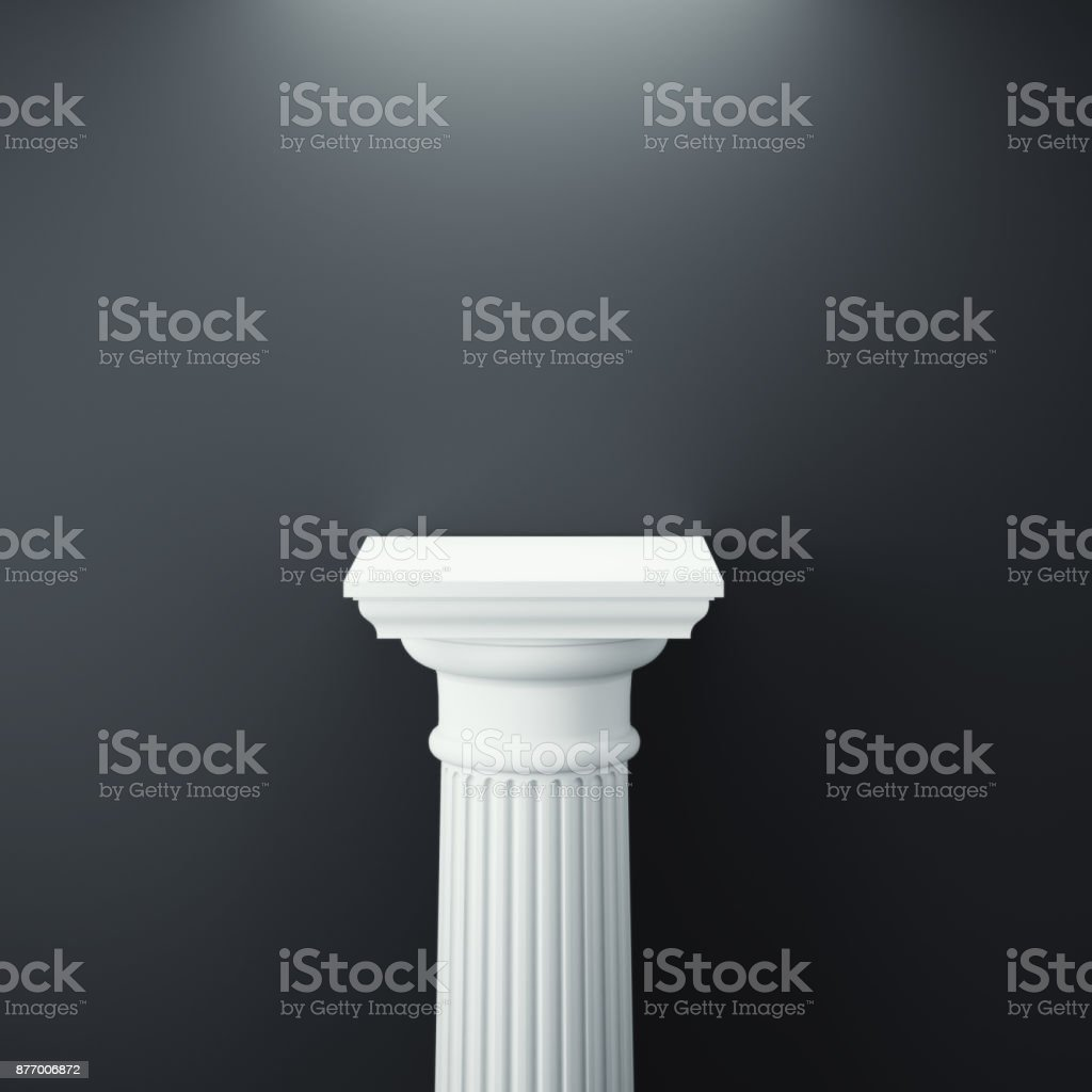 White greek column. 3d rendering stock photo