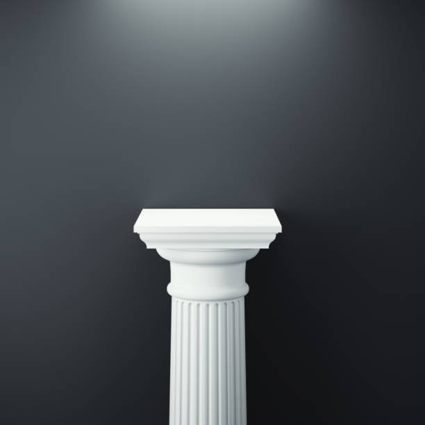white greek column. 3d rendering - piedistallo foto e immagini stock