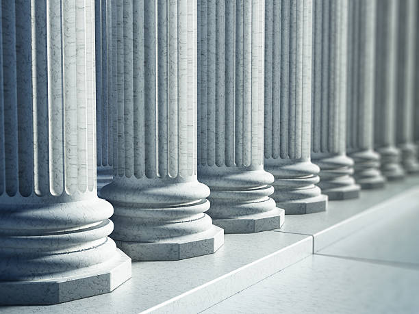 white greek pillars along the road - roman stock photos and pictures