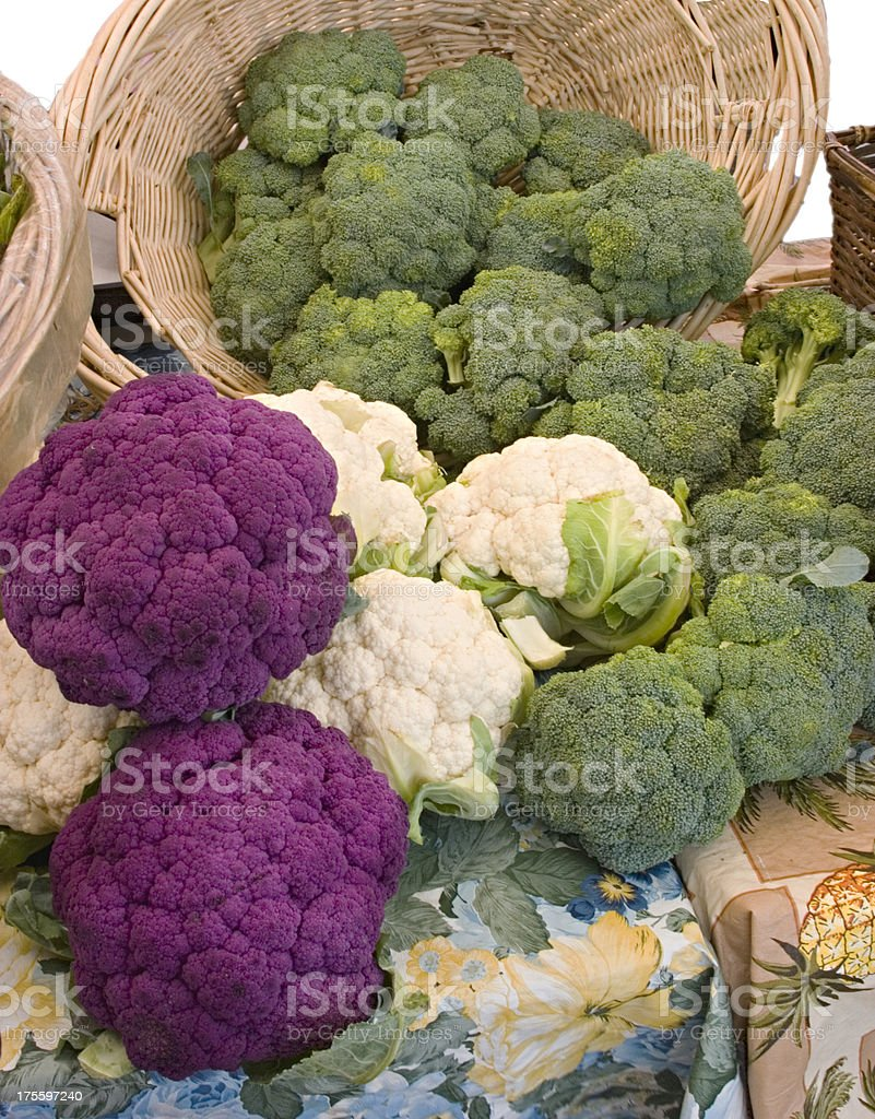 White Green and Purple Cauliflower & Broccoli Heads royalty-free stock photo