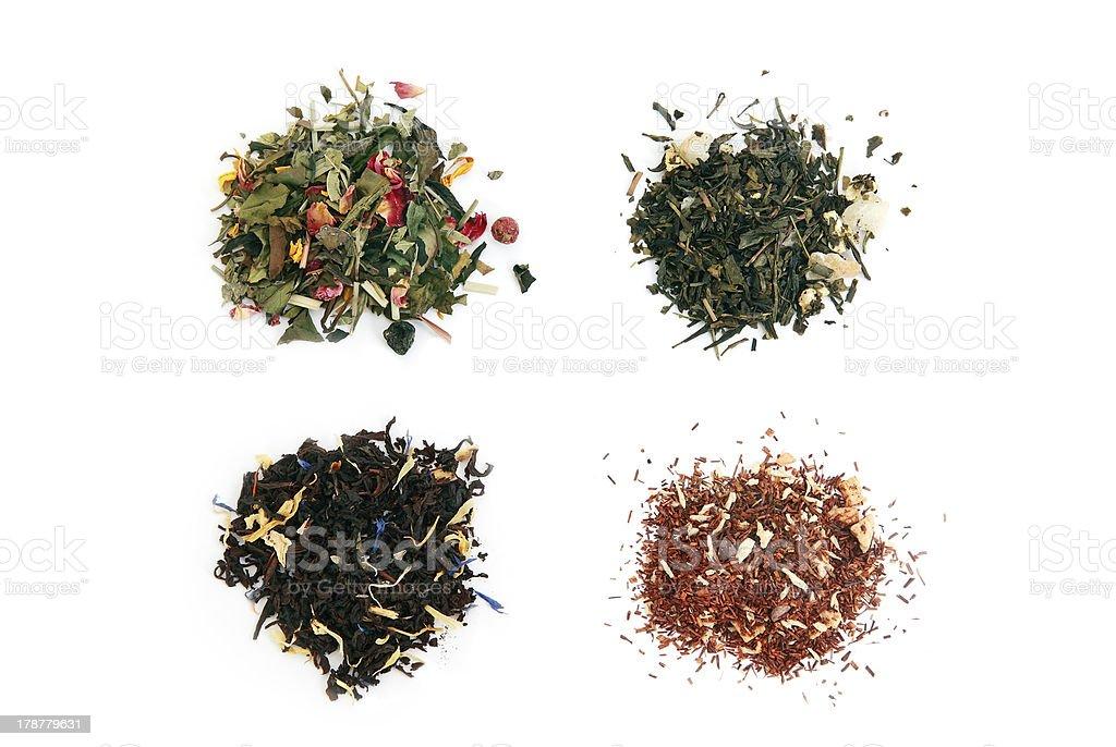 white, green, black and rooibos tea stock photo