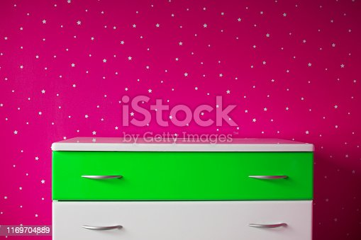 1151171813 istock photo white green pedestal in the beautiful starry room 1169704889
