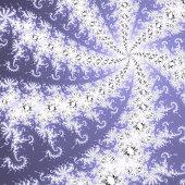 White, grey and blue mandelbrot fractal.