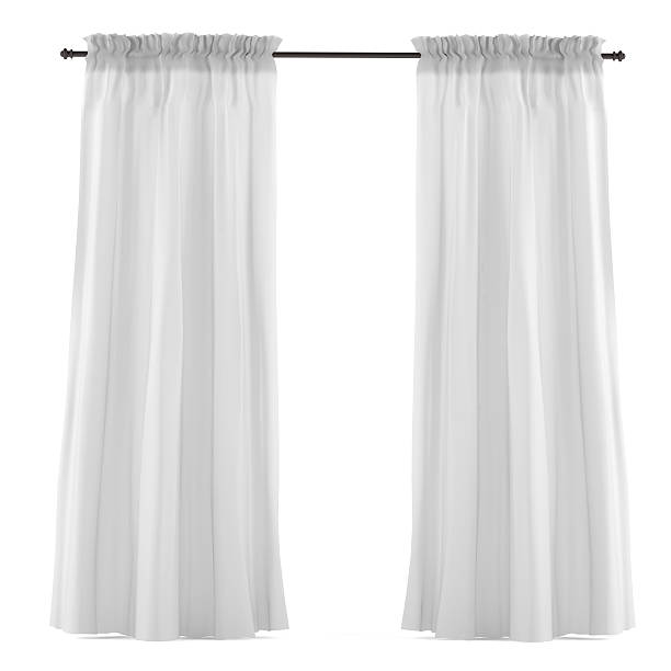 white grey curtain isolated - curtain stock pictures, royalty-free photos & images