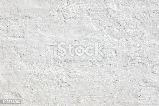 Old  White Brick Wall. Plastered Brick Wall Or Fence. Solid Structure. Home House Interior Or Exterior. White Wash Surface. Abstract White Wallpaper. Design In Modern Vintage Style. Rustic Rough Bricklaying.