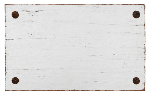 White grunge wood board with four old bolts. Isolated on white, clipping path included, composite image.