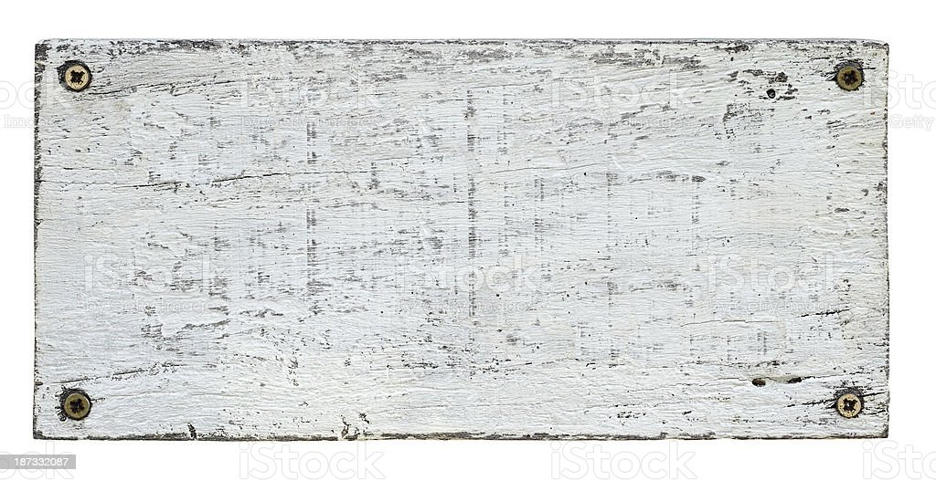 White grunge wood board with four screws. stock photo