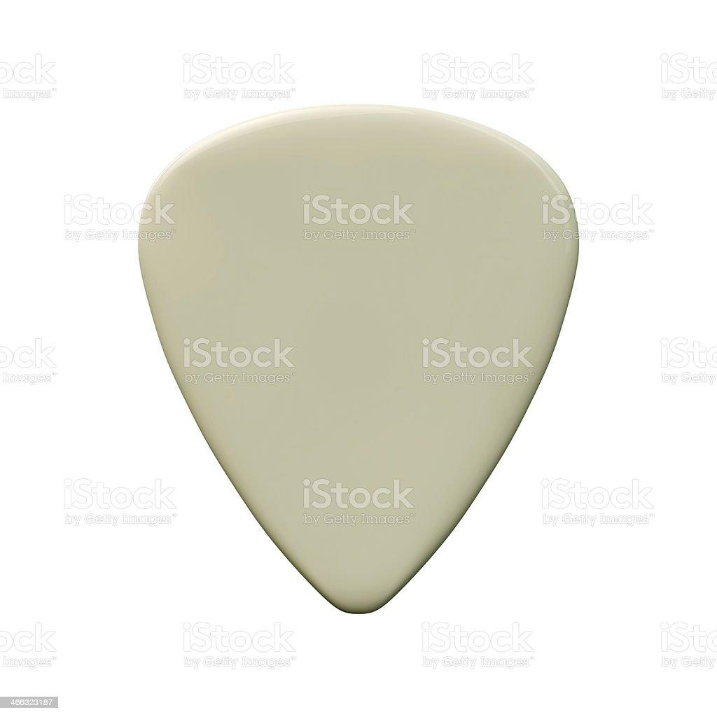 White guitar pick on a white background stock photo