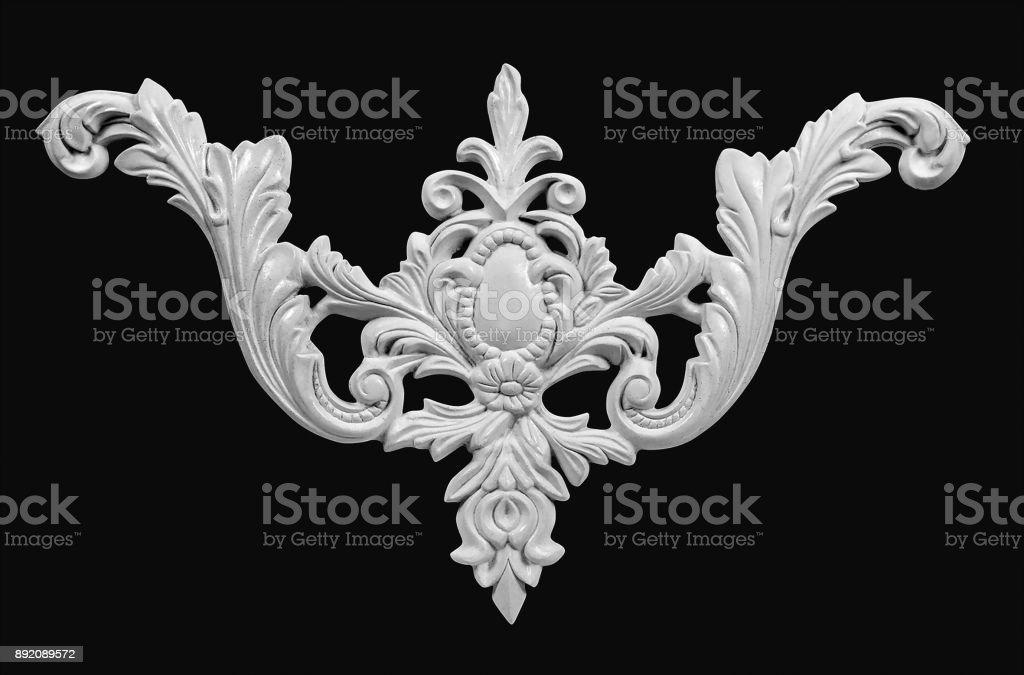 White gypsum ornaments for interior decoration stock photo