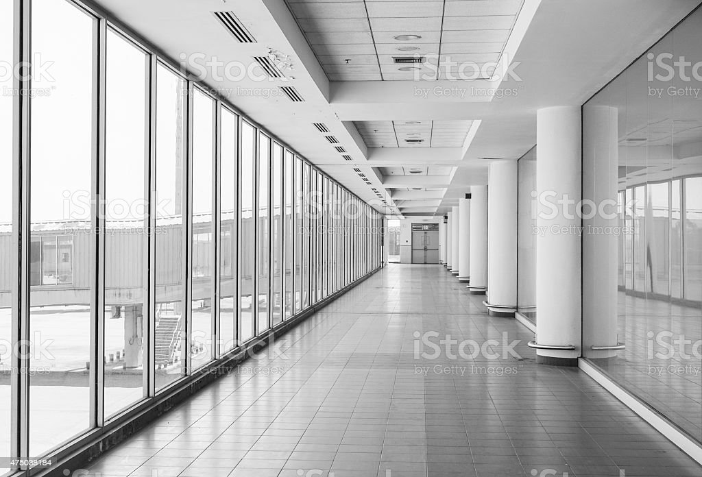 White hall at airport - modern architecture stock photo