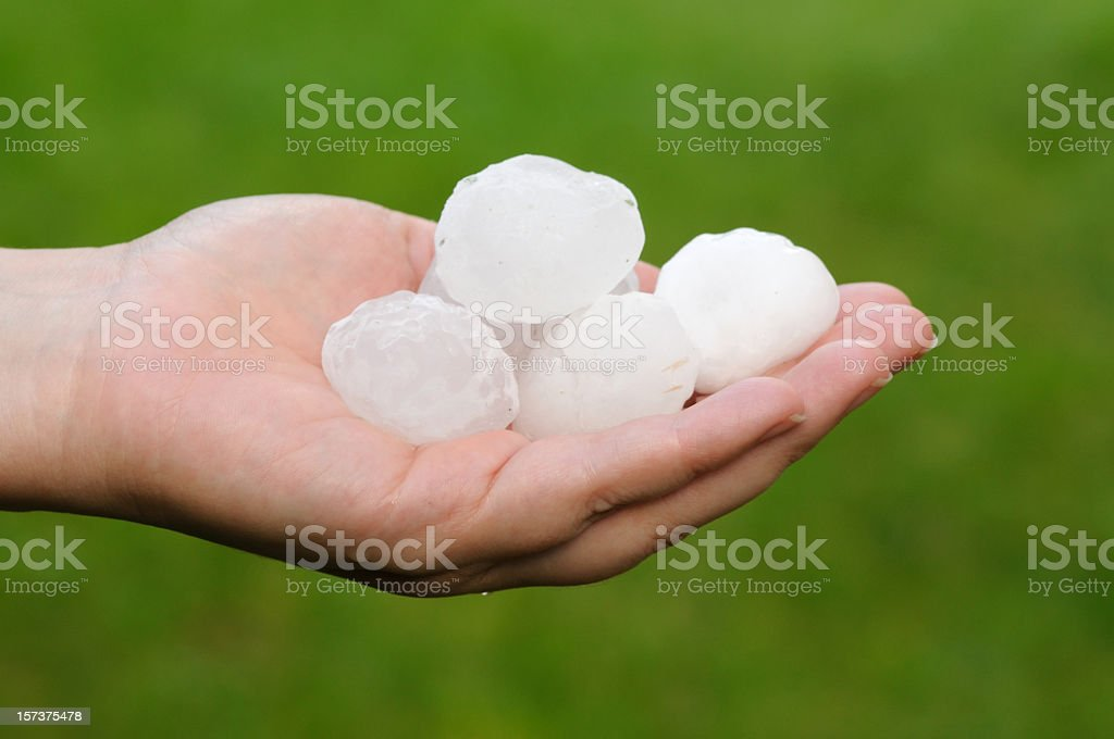 A white hand holding large hailstones on its palm stock photo