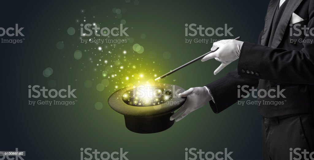 White hand in middle of conjuring stock photo