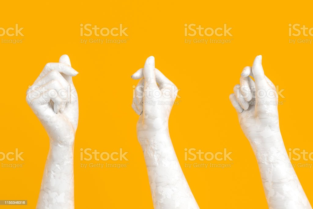White hand old cracked sculpture set holding something gesture, 3d...