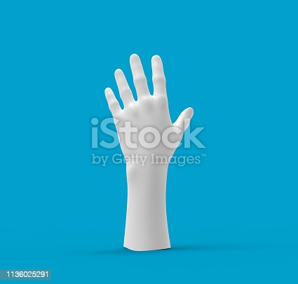 White hand on a Blue background. 3d image, 3d rendering