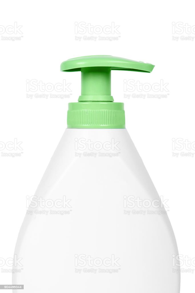 White hand sanitizer soap dispenser isolated on white background. Housework and sanitary concept stock photo