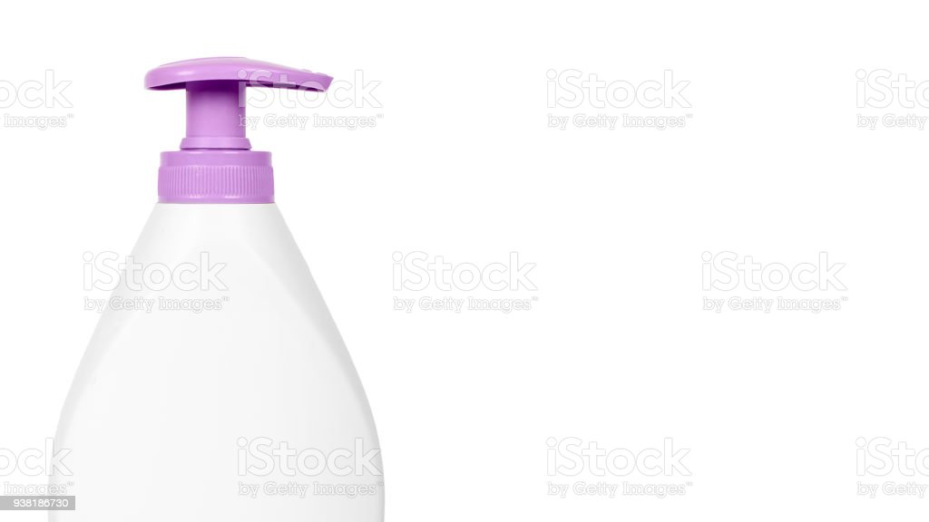 White hand sanitizer soap dispenser isolated on white background. Housework and sanitary concept. copy space, template stock photo