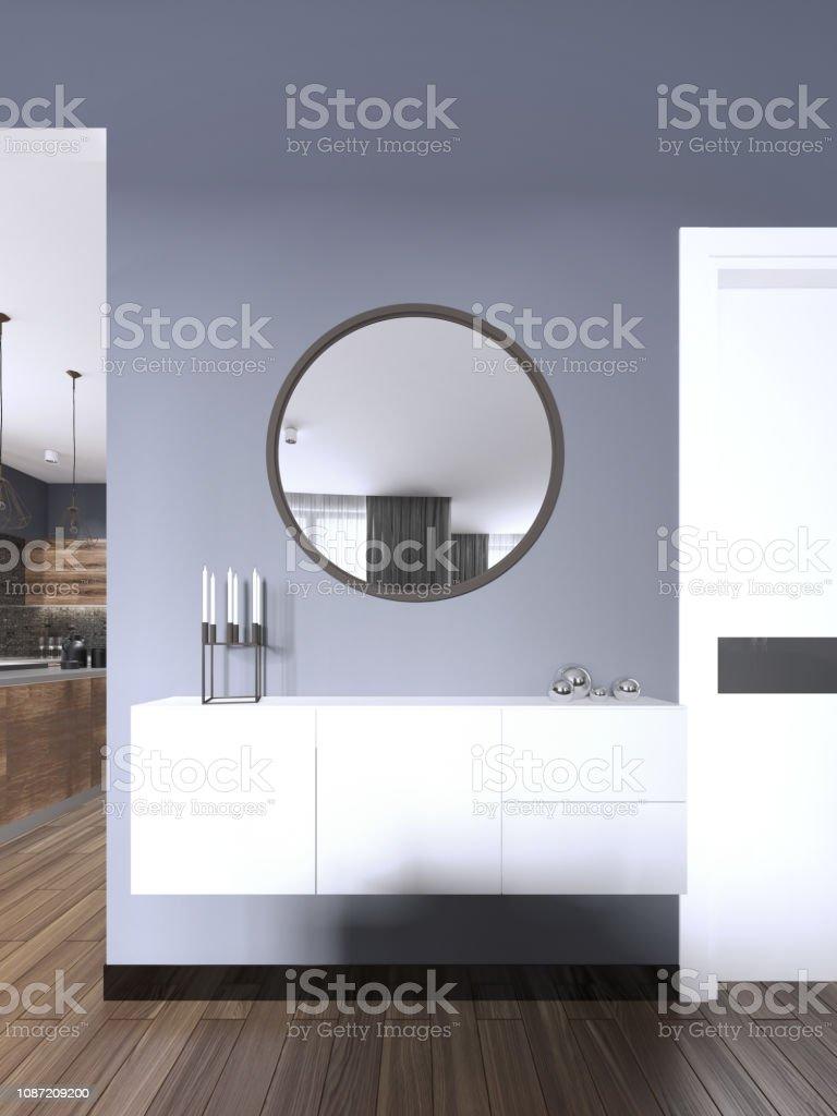Weisse Hangende Konsole Mit Einem Spiegel Im Modernen Stil Wohnzimmer Stockfoto Und Mehr Bilder Von Dekoration