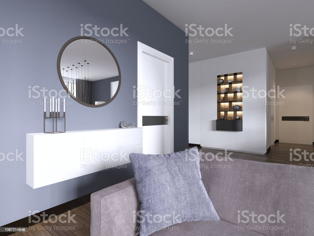 Weisse Hangende Konsole Mit Einem Spiegel Im Modernen Stil