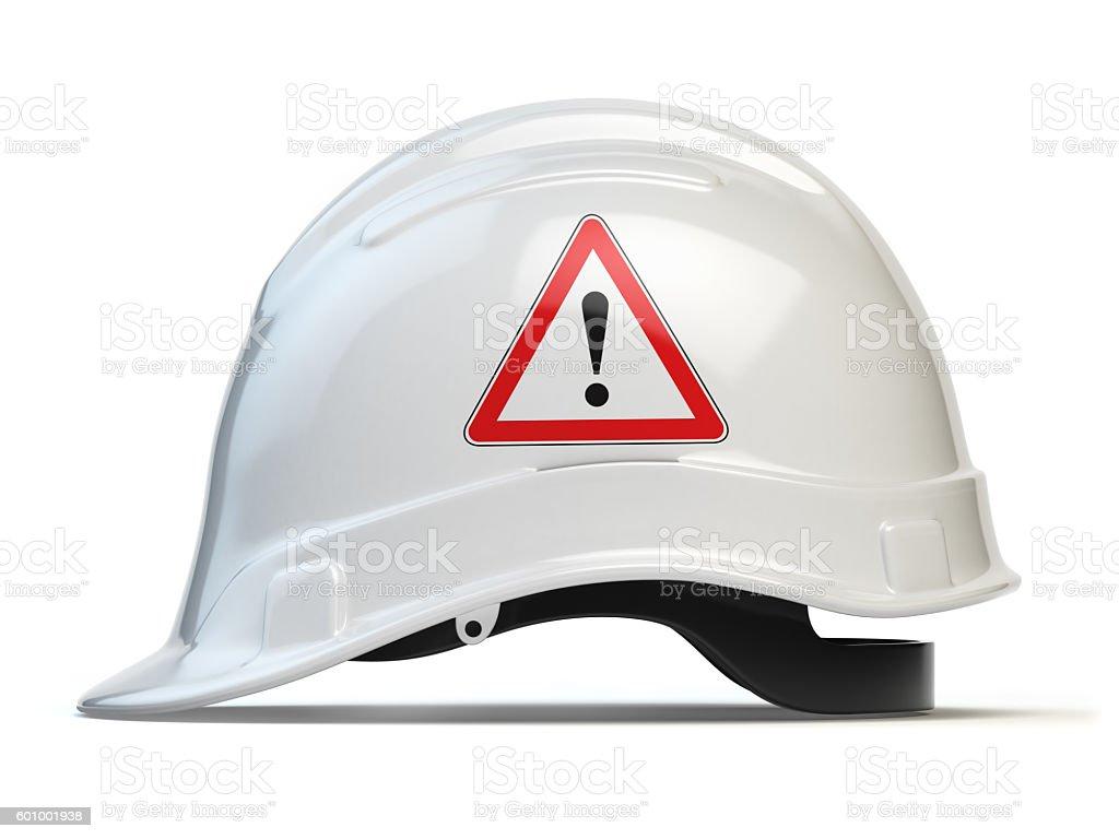 White hard hat, safety helmet isolated on white stock photo