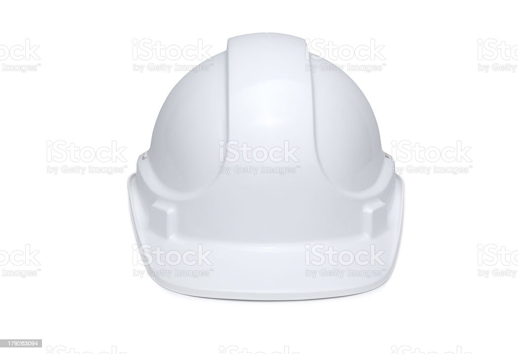 White Hardhat Front View stock photo