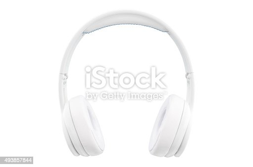 Front view of white headphones isolated on white background