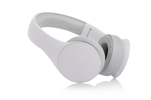 White headphones on white background.