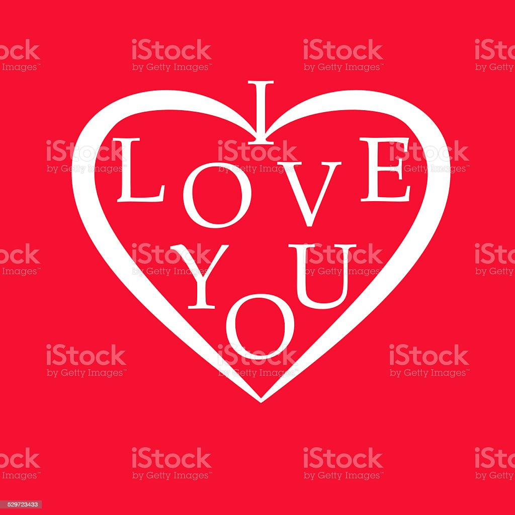 white heart with i love you message on red background stock photo