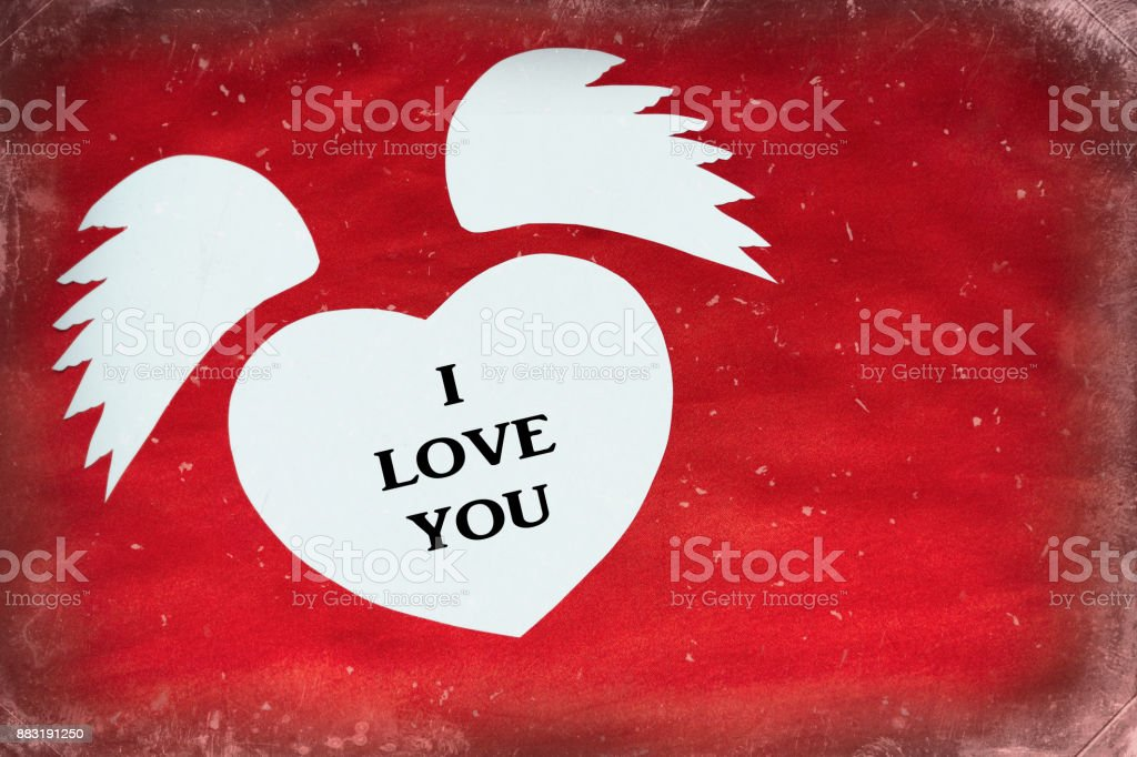 White Heart With Text I Love You On A Red Cloth Waves In The Form Of